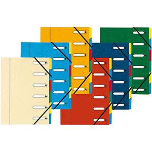 Exacompta Trieur Harmonika à fenêtres avec élastiques - véritable carte lustrée - 6 compartiments - couleurs assorties