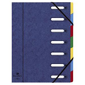 Exacompta Trieur Harmonika à fenêtres avec élastiques - véritable carte lustrée - 7 compartiments - bleu