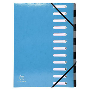 Exacompta Trieur Harmonika Iderama 12 compartiments, dos extensible à soufflet, capacité de 600 feuilles A4 - Bleu clair