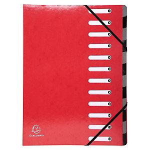 Exacompta Trieur Harmonika Iderama 12 compartiments, dos extensible à soufflet, capacité de 600 feuilles A4 - Rouge