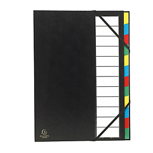 EXACOMPTA Trieur Ordonator® Nature Future® avec dos extensible à soufflet 600 feuilles A4 12 compartiments 23,5 x 33,5 cm Polypropylène Noir