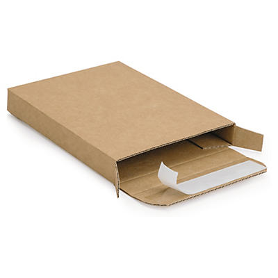 Extra flat brown postal boxes with an adhesive strip