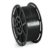 Extruded polyester strapping on plastic reels