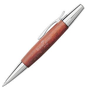 Faber-Castell E-Motion Bolígrafo retráctil de punta de bola, punta ancha, cuerpo marrón, tinta negra