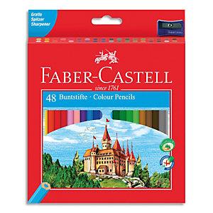 FABER CASTELL Etui de 48 crayons de couleur Château assortis + un taille-crayon