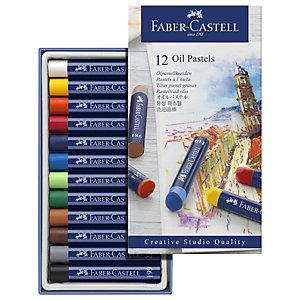 Faber-Castell Pack de 12 ceras de colores pastel al aceite de calidad de estudio