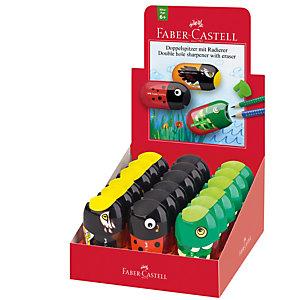 FABER-CASTELL Temperamatite Animals con contenitore - 2 fori - con serbatoio e gomma assortiti - Faber Castell