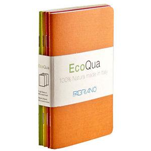 Fabriano Blister da 4 taccuini EcoQua in colori assortiti - Fogli bianchi - Formato A6