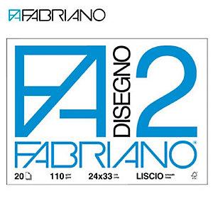 Fabriano Blocchi disegno F2 - Liscio riquadrato - F.to 24 x 33 cm - 110 g/mq - Conf. 20 fogli (confezione 20 fogli)
