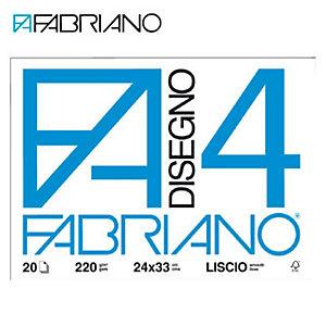 Fabriano Blocchi disegno F4 - Liscio - F.to 33 x 48 cm - 220 g/mq - Conf. 20 fogli (confezione 20 fogli)