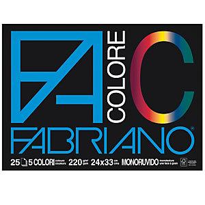 FABRIANO Blocco FaColore - 24x33cm - 25 fogli - 220gr - 5 colori - Fabriano