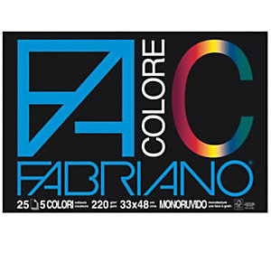 FABRIANO Blocco FaColore - 33x48cm - 25 fogli - 220gr - 5 colori - Fabriano