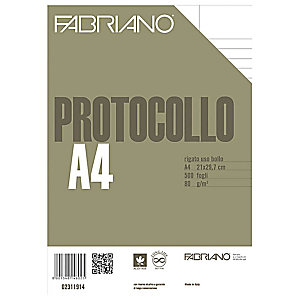 Fabriano Carta fotocopie uso bollo con margini per stampanti laser e ink-jet - F.to A4 - 80 g/mq