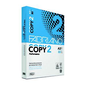 Fabriano Copy 2 Carta per fotocopie A3 per Fax, Fotocopiatrici, Stampanti Laser e Inkjet, 80 g/m², Bianco (risma 500 fogli)
