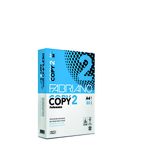 Fabriano Copy 2 Carta per fotocopie A4 per Fax, Fotocopiatrici, Stampanti Laser e Inkjet, 80 g/m², Bianco (confezione 5 risme)