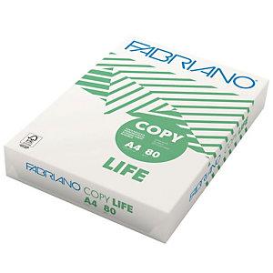 Fabriano Copy Life Carta per fotocopie A4 per Fax, Fotocopiatrici, Stampanti Laser e Inkjet, Riciclata, 80 g/m², Bianco (risma 500 fogli)