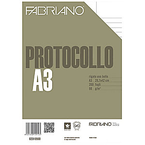 Fabriano Fogli protocollo con margini, A4, Uso bollo, 60 g/m² (confezione 200 fogli)