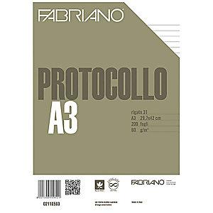 Fabriano Fogli protocollo senza margini, A4, 1 rigo, 60 g/m² (confezione 200 fogli)