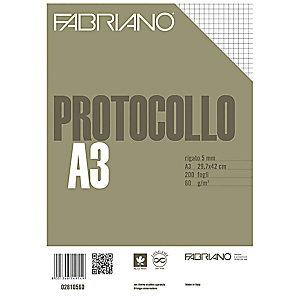 Fabriano Fogli protocollo senza margini, A4, Quadretti 5 mm, 60 g/m² (confezione 200 fogli)