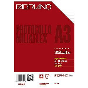 Fabriano Miliaflex Fogli protocollo con margini, A4, Uso notarile, 125 g/m² (confezione 200 fogli)