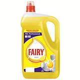 Fairy Lavavajillas Profesional Lemon Limón Amarillo, 5 l, Biodegradable, Limpieza manual y Acabado profesional, Tapón Rosca