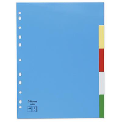 Farvedelte registerblade af karton med glans