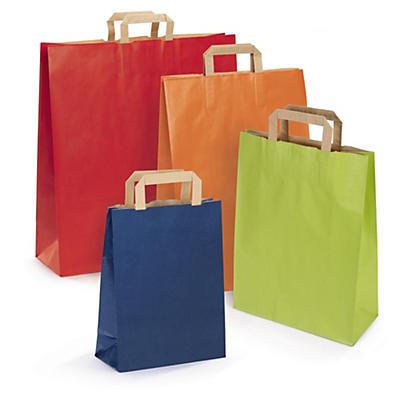 Farvet papirpose med flad hank