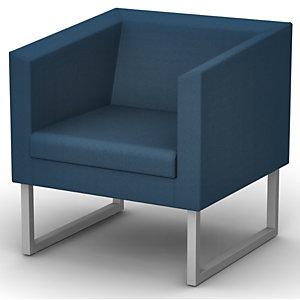 Fauteuil d'accueil Sten, 1 place Tissu bleu- Pietement acier aluminium