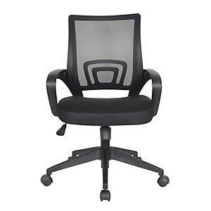 Fauteuil de bureau Dario avec accoudoirs - Assise tissu et dossier maille - Noir