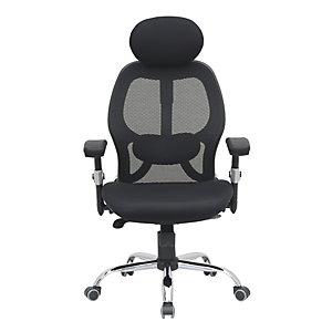 Fauteuil de bureau ergonomique Ariss en maille et tissu - Noir