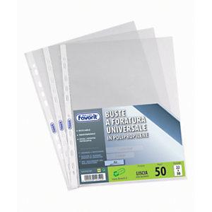 FAVORIT Air Busta a foratura universale, A4+, Polipropilene basso spessore, Liscia, 11 fori, Trasparente (confezione 50 pezzi)