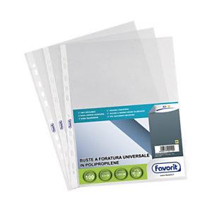 FAVORIT Air Standard Busta a foratura universale, A4, Polipropilene, Liscia, 11 fori, Trasparente (confezione 100 pezzi)