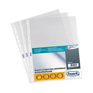 FAVORIT Busta a foratura universale, A4, Polipropilene 105 micron, Goffrata, 11 fori, Trasparente (confezione 50 pezzi)