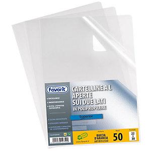 "FAVORIT Buste a ""L"" Pratic - Spessore 105 micron - Colore trasparente - Finitura goffrata (confezione 50 pezzi)"