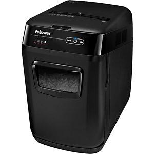 Fellowes AutoMax™ 150C Destructora automática de corte cruzado, 150 hojas, 32 l, destruye grapas, tarjetas de crédito y clips