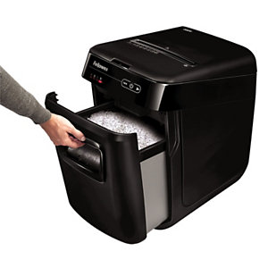 Fellowes AutoMax™ 200M Destructora automática de microcorte, 200 hojas, papelera de 32 l, destruye: grapas, tarjetas de crédito