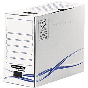 Fellowes Boîte archives carton dos 15 cm, pour format 24 x 32 cm, H. 255 mm x l. 15 cm x P. 319 mm - Blanc / Bleu - 100% recyclé certifié FSC