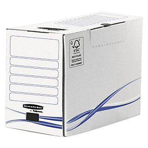 Fellowes Boîte archives carton dos 20 cm, pour format 24 x 32 cm, H. 255 mm x l. 20 cm x P. 200 mm - Blanc / Bleu - 100% recyclé certifié FSC