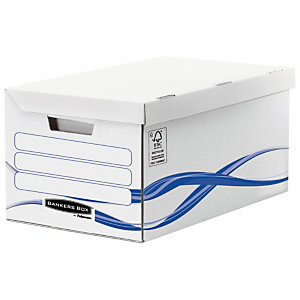 Fellowes Caisse archives carton capacité jusqu'à 6 boîtes archives, pour format 24 x 32 cm, H. 280 mm x l. 554 mm x P. 356 mm - Blanc / Bleu - 100% recyclé certifié FSC