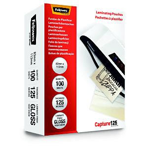 Fellowes Capture125 Pouches per plastificatrici a caldo, Finitura lucida, 83 x 113 mm, 2 x 125 micron (confezione 100 pezzi)