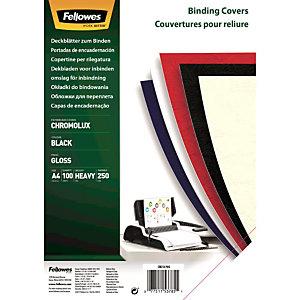 Fellowes Copertina per rilegatura Chromolux, A4, Cartoncino liscio 250 g/m², Nero (confezione 100 pezzi)