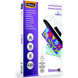 Fellowes Enhance80 Pouches per plastificatrici a caldo, Finitura lucida, A3, 2 x 80 micron (confezione 100 pezzi)