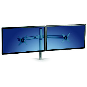 Fellowes Lotus™ Kit de soporte para dos monitores, aluminio, 72 x 14 x 42 cm, plateado