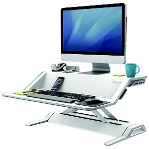 Fellowes Lotus™ Workstation Sit-Stand, Acciaio, 83 x 61,5 x 14 cm, Bianco