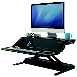 Fellowes Lotus™ Workstation Sit-Stand, Acciaio, 83 x 61,5 x 14 cm, Nero