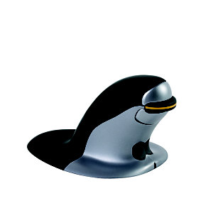 Fellowes Mouse verticale ambidestro wireless Penguin, Nero/argento, Small