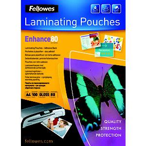 Fellowes Pochettes de plastification A4 dos adhésif - Epaisseur : 80 microns par face - Boîte de 100