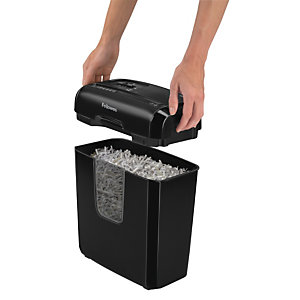 Fellowes Powershred® 6C Destructora de corte cruzado, 6 hojas, papelera de 11 l, destruye papel, grapas, tarjetas de crédito