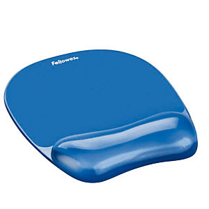 """Fellowes Tappetino mouse con poggiapolsi in gel """"Crystal"""" - blu"""