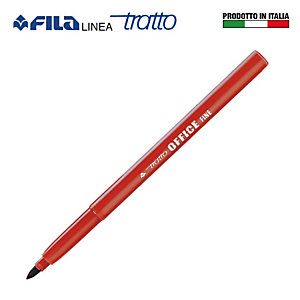 FILA Tratto Office Pennarelli, Punta fine, Rosso (confezione 12 pezzi)